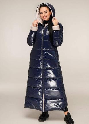 Супертеплый брендовый женский макси пуховик лаковый, 1202 синий, р 44-58