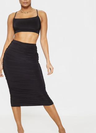 Летняя распродажа 🔥🔥🔥 черная юбка стрейч миди по фигуре