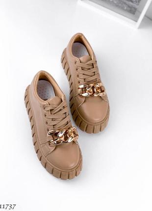 Стильные бежевые женские кроссовки 😍