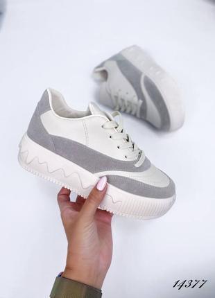Рр 37-41. серые белые кроссовки кеды на массивной подошве