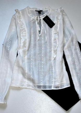 New look белая хлопковая блуза вышита в стиле ришелье. 2хл.16.44