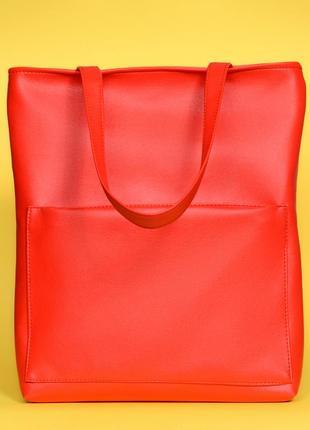 Cтильная женская красная вместительная сумка-шопер