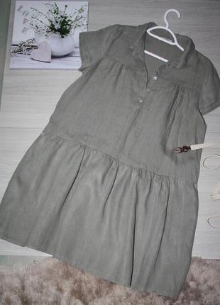 Стильное,комфортное льняное платье оливкового цвета !