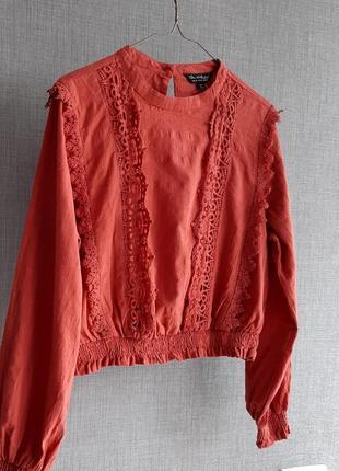 Коралловвя блуза из хлопка