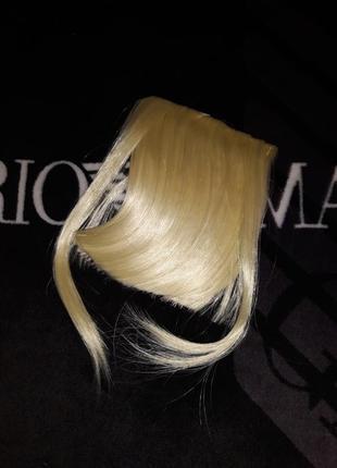 Накладная прицепная челка волосы на заколках