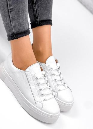Кеды белые кожаные