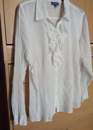 Брендовая блуза с жабо из батиста в тонкую полосочку х/б