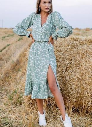 Шикарное платье миди в цветочек с разрезом сукня міді в квіточку