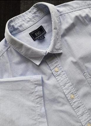 Брендовая хлопковая топовая базовая голубая котоновая рубашка шведка тенниска в полоску f&f