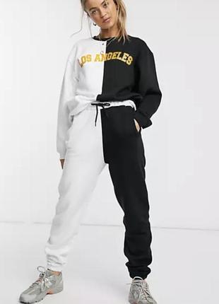 Daisy street спортивные штаны джоггеры черно-белые флисовые