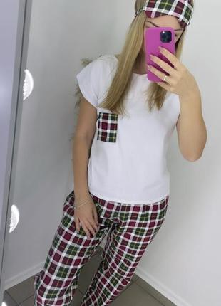 Женская пижама в клетку