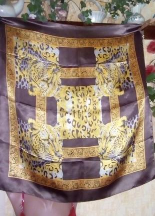 Шёлковый платок с леопардами/платок/шарф/скатерть/накидка/юбка/платье/шапка/юбка/джинсы