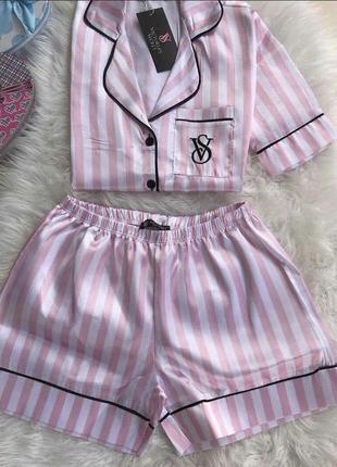 Атласная пижама в стиле victoria secret