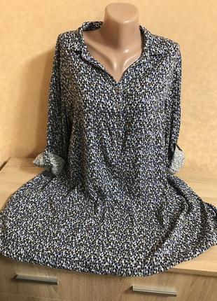 Удлиненная хлопковая блуза в принт