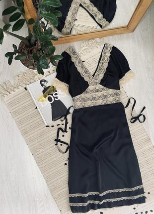 Шикарне атласне плаття з мереживом від topshop🌿