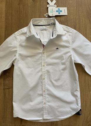 Новая белая рубашка с длинным рукавом на рост 128-134 см