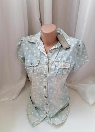 Джинсовая летняя блуза рубашка