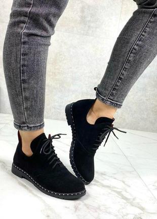 36-41 рр ботинки, туфли, ботильоны на шнурках натуральная замша / кожа