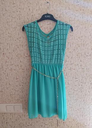 Летнее яркое платье с поясом, сарфан шифоновый летний