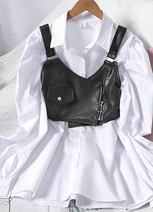 Платье-рубашка с топом кожаным