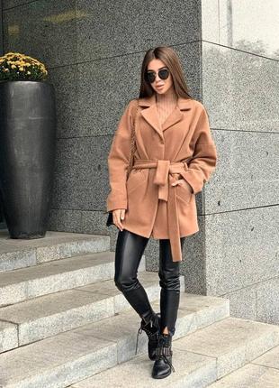 Кашемировое укорочённое  пальто свободного кроя под пояс💜