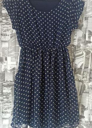 Шифоновое платье в горошек размер 46-48 mela loves london