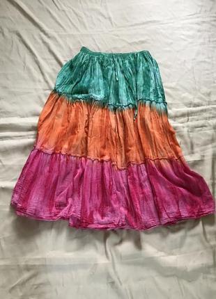 Трёхярусная индийская пышная юбка на резинке. бохо стиль