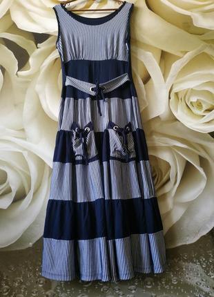 Платье макси свободного кроя сарафан с накладными карманами