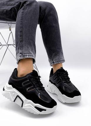 Кроссовки кроссы кросівки кроси еко замшеві эко замшевые текстильные модные стильные чёрные черные чорні на массивной подошве широкую ногу