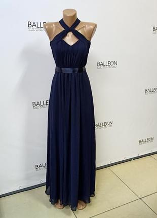 Платье выпускное внчернее тёмно-синее драпировка корсет
