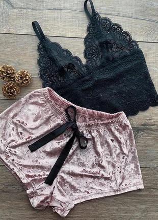 2-21 женская пижама піжама жіноча комплект мереживна маєчка плюшеві шорти
