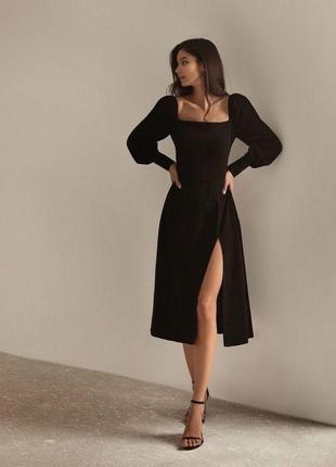 Стильное женское платье с разрезом по ноге 38-70 размера