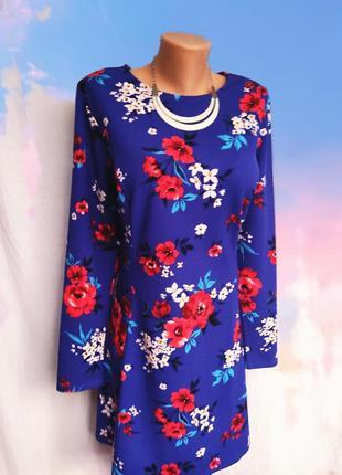 Очень красивое трикотажное платье в цветочный принт, размер евр 18, новое