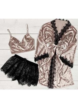 Пудровый комплект халат и пижама, топ и кружевные шорты 082-1+901+777 пудра