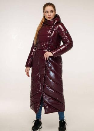 Зимний теплый брендовый пуховик макси 1133бордо, р 44-58