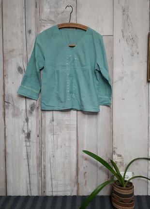 🔥пляжная бирюзовая батистовая блузка р s- m