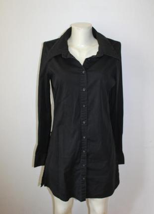 Идеальное базовое черное платье сарафан туника на пуговицах