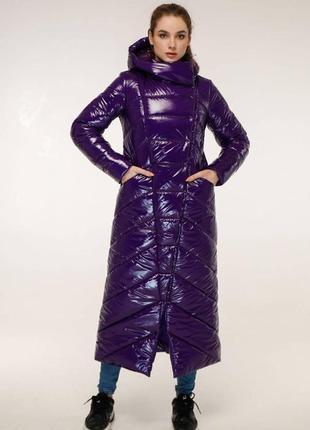 Зимнее теплое брендовое пальто макси 1133 темный фиолет, р 44-58
