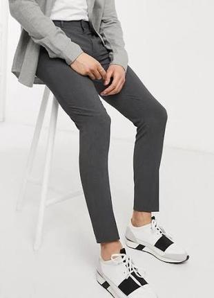 Серые брюки  next school slim (узкачи)на 14-16 лет