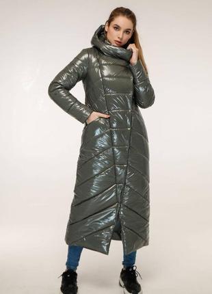Зимнее теплое пальто макси с капюшоном 1133 оливка, р 44-58