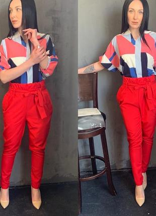 Женский костюм двойка рубашка и брюки с завышенной талией