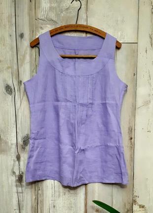 Блузка без рукавов удлиненная сиреневая р m- l