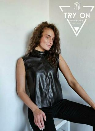Стильна майка-топ з еко-шкіри бренду h&m