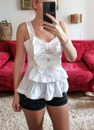 Белая майка блуза топ с бантами next