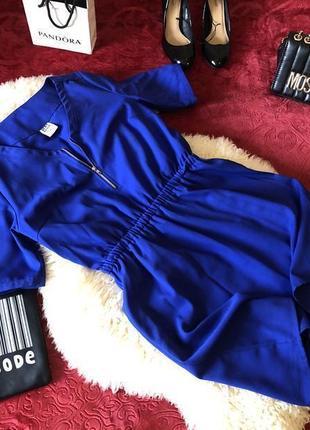 Супер крутое платье электрик с замочком на декольте и резинкой на талии, р.м ...❤️🔥💋