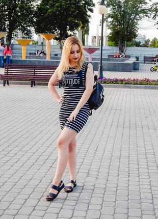 Платье в спортивном стиле в полоску