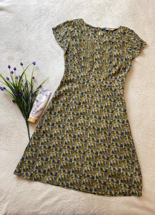 Винтаж платье миди  принт люди вискоза сукня вінтаж