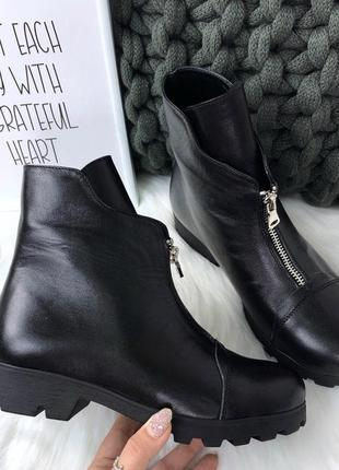 36-41 рр деми/зима ботинки со змейкой низкий ход натуральная замша/кожа
