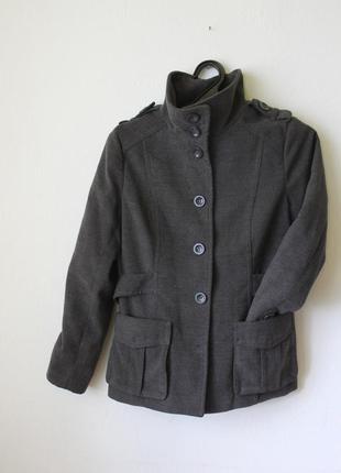 Пальто серое базовое8 фото