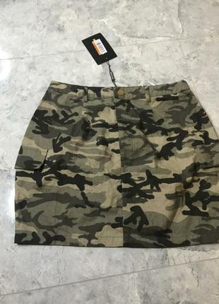 Летняя юбка prettylittlething, цвета хаки